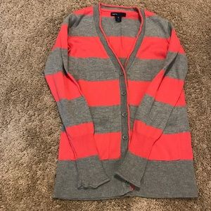 GAP pink and gray striped button down sweater